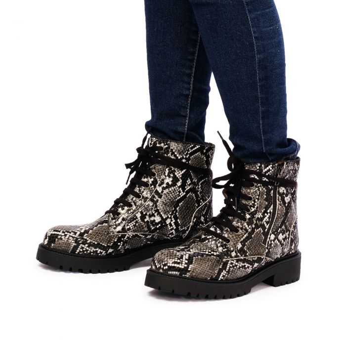 Image for Womens Snake Print leather lace up ankle boots