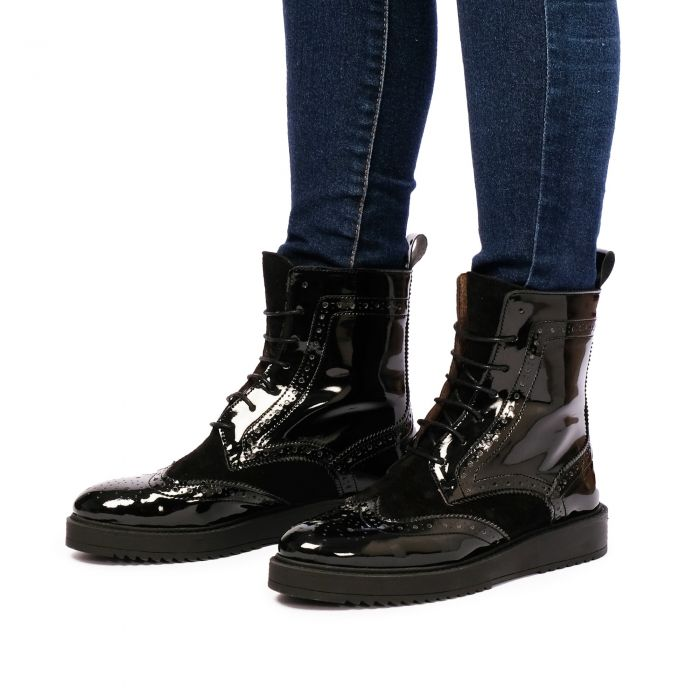 Image for Womens Black Patent Leather lace up ankle boots