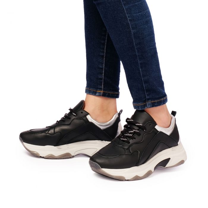 Image for Womens black leather chunky sneakers