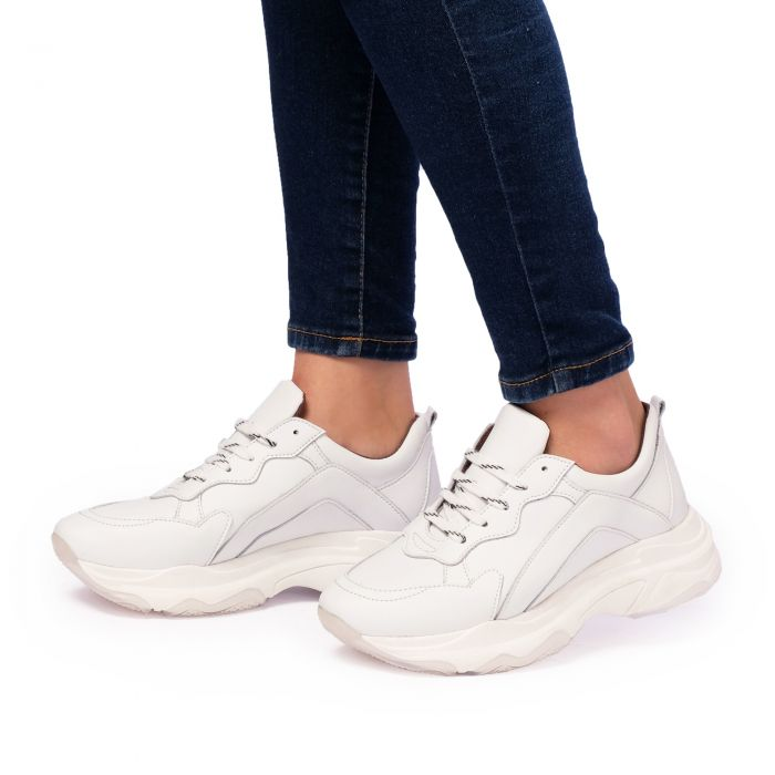 Image for Womens white leather chunky sneakers