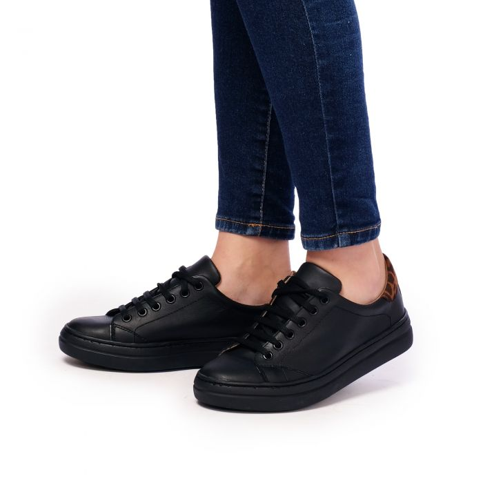 Image for Womens black leather sneakers