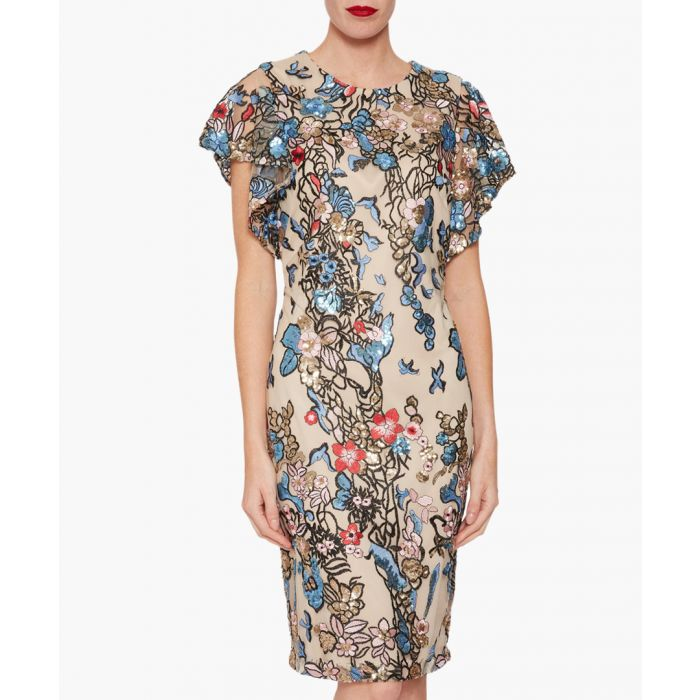 Image for Blue annamaria sequin and embroidery dress