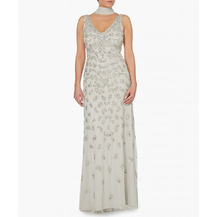 Image for silver-tone scatter V-neck maxi dress