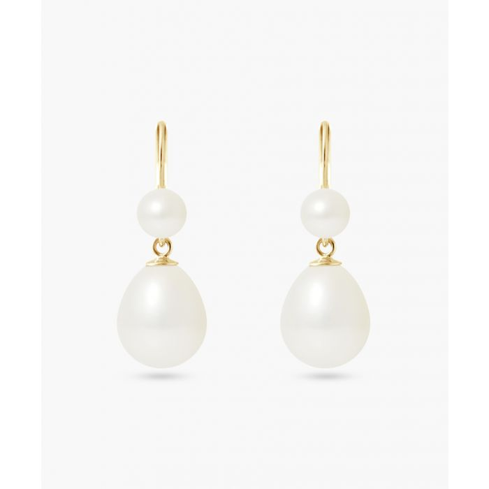Image for Yellow gold-plated natural white freshwater pearl earrings