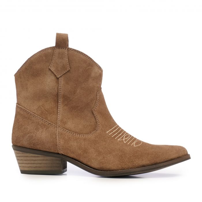 Image for Womens brown leather cowboy ankle boots