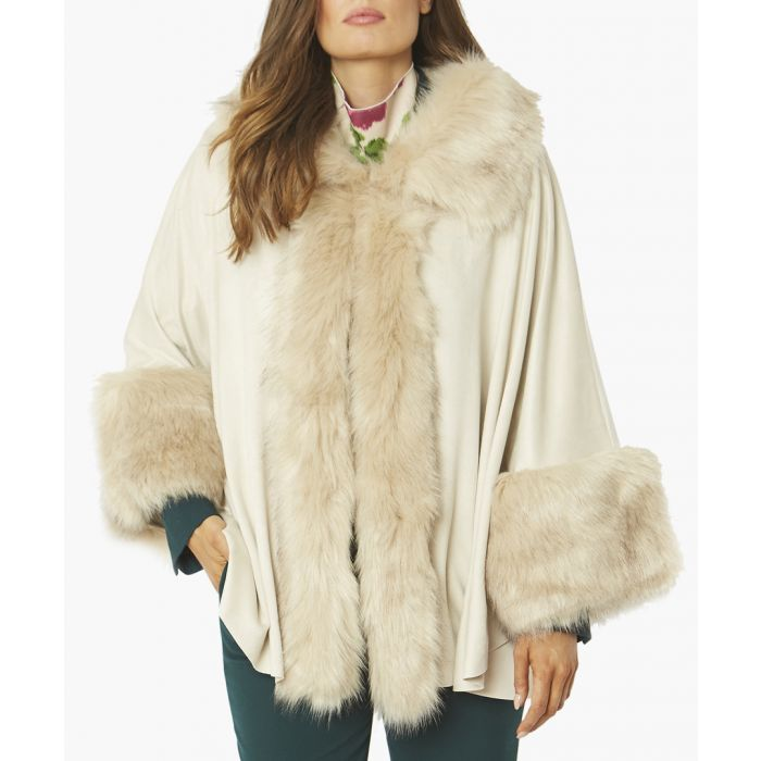 Image for Cream faux suede and faux fur trimmed coat