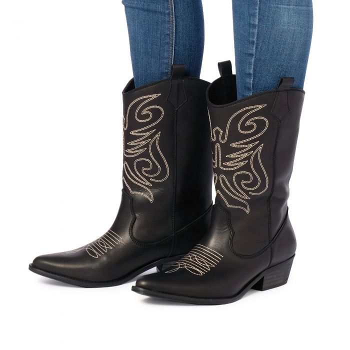 Image for Womens Black Leather Cowboy Boots