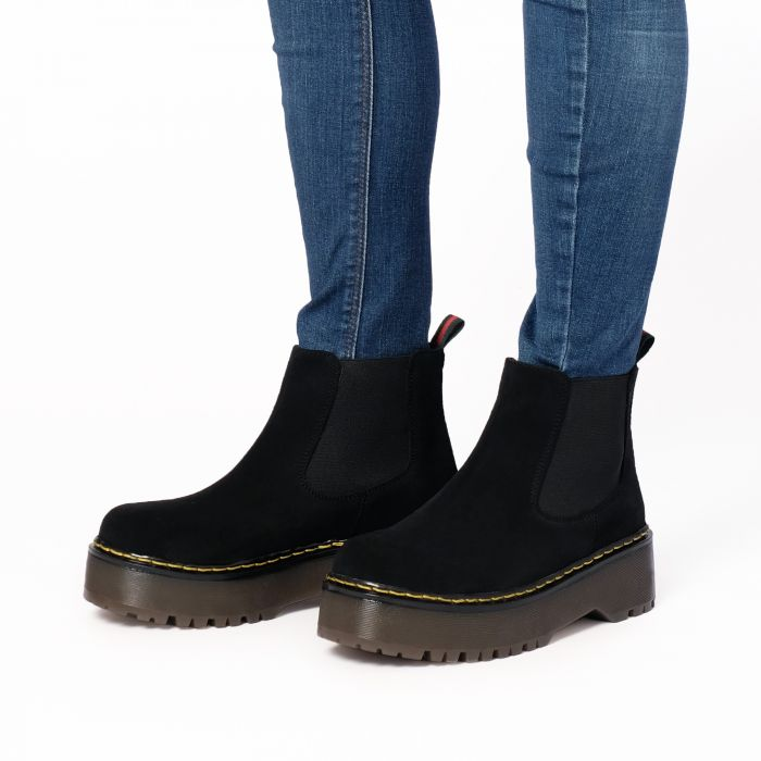Image for Womens black leather platform chelsea boots
