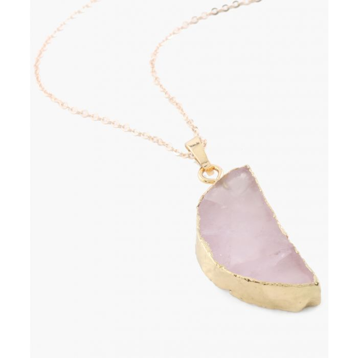 Image for Half Moon 14k gold-plated and quartz necklace