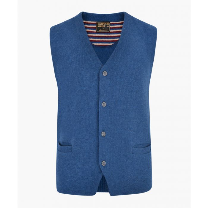 Image for Legion blue lambswool blend knitted waistcoat