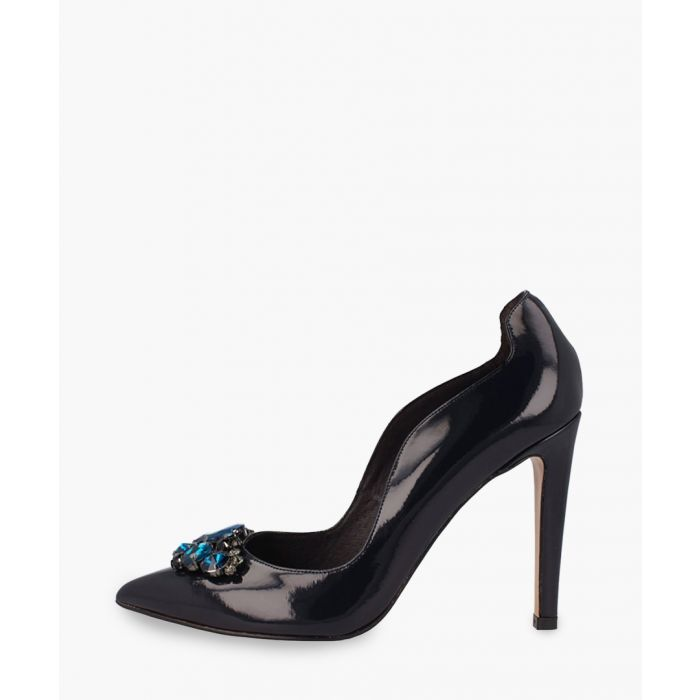 Image for Navy leather heels
