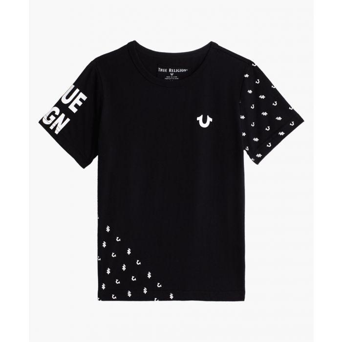 Image for Boys black cotton monogram T-shirt