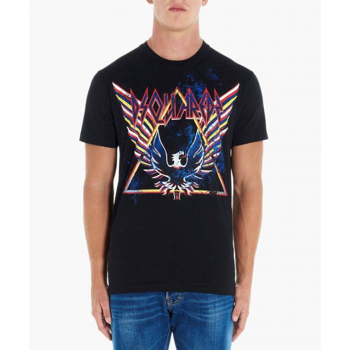 Image for Black cotton eagle print T-shirt