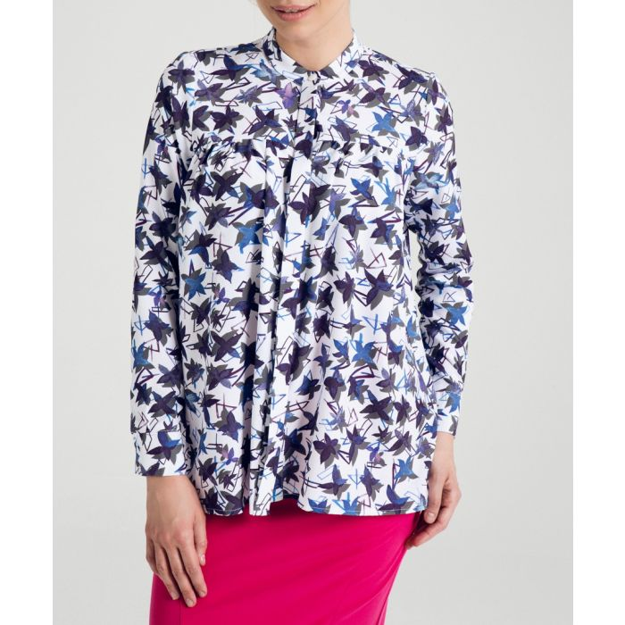 Image for Blue printed collarless swing blouse