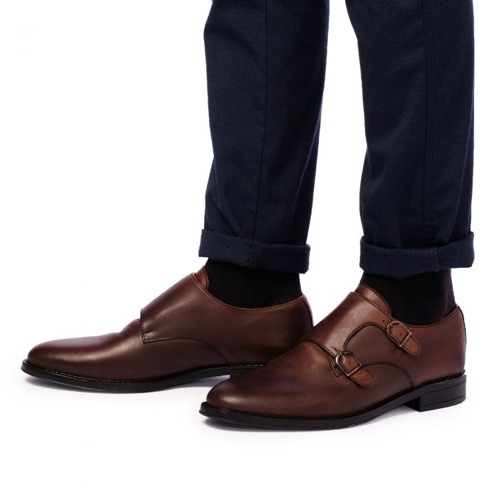Image for Brown leather monk strap shoes