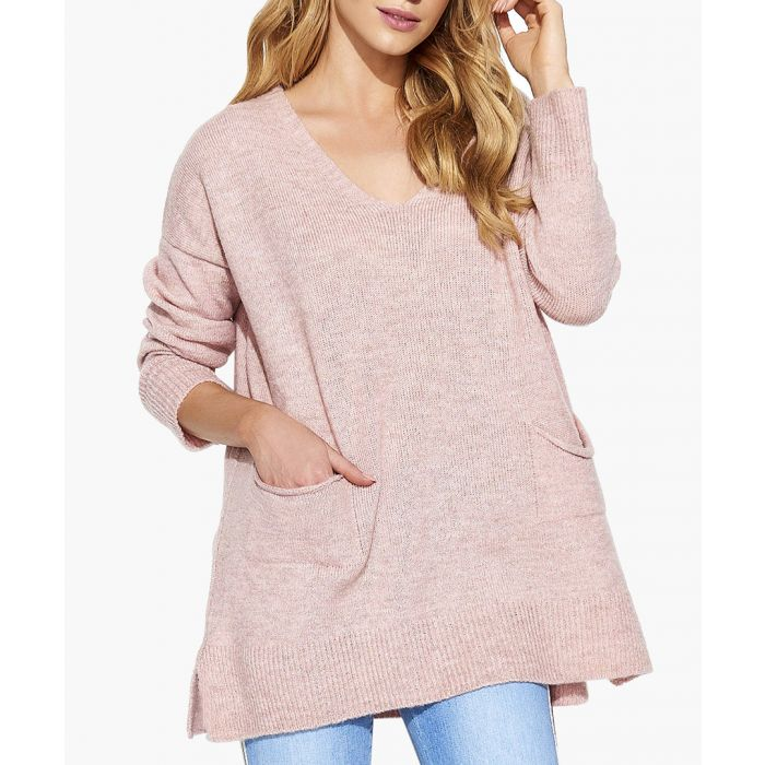 Image for Pink Melange Mohair & Wool Blend Knitted Sweater