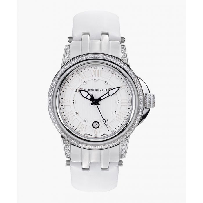 Image for Dionne silver-tone & white leather watch