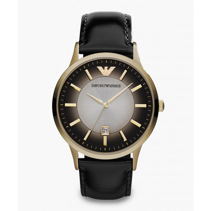 Image for Black and gold-tone leather watch