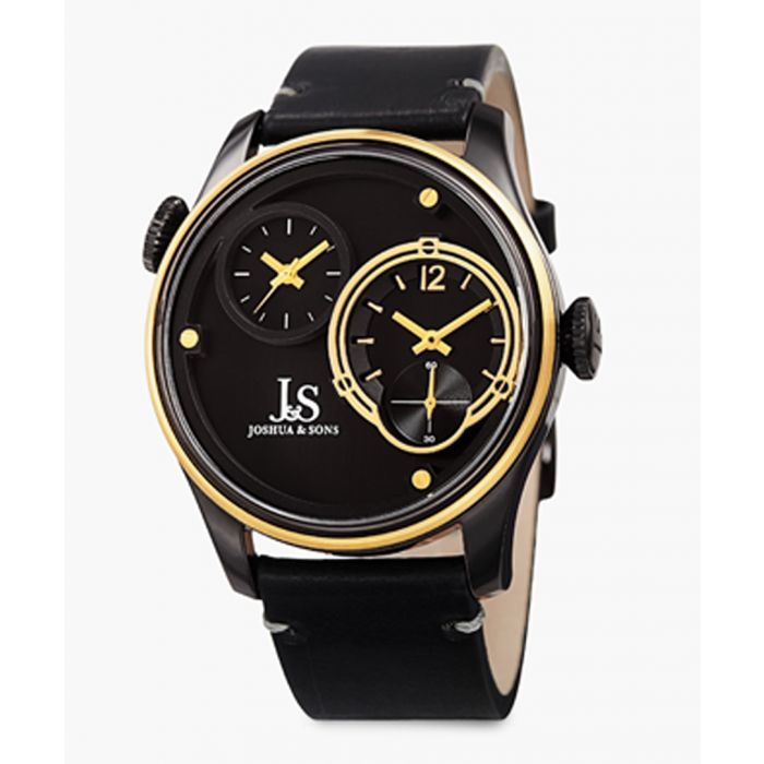 Image for Gold-tone stainless steel and black leather watch