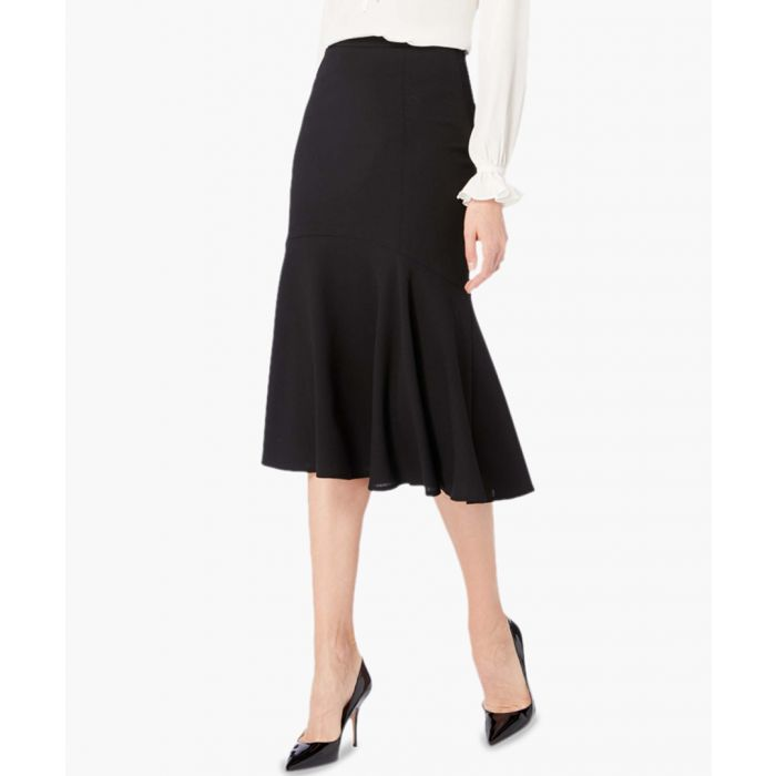 Image for Inga black pure wool crepe fluted tier skirt