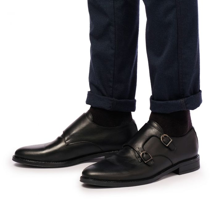 Image for Black leather monk strap shoes