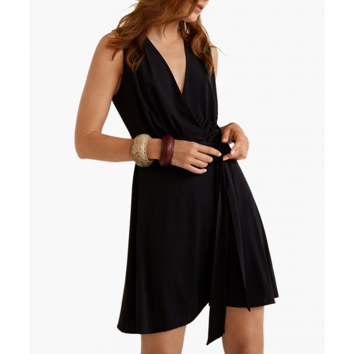 Image for Black bow wrap dress