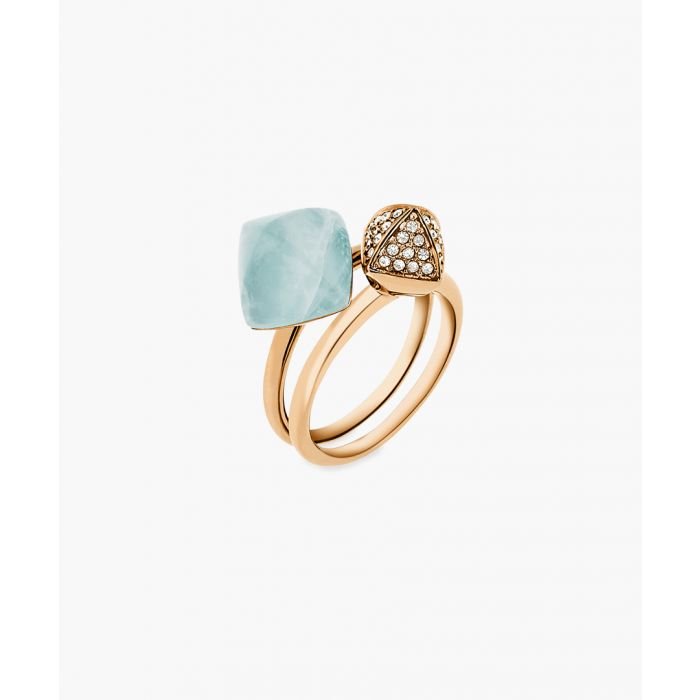 Image for 14ct Gold-plated stainless steel and cubic zircona ring