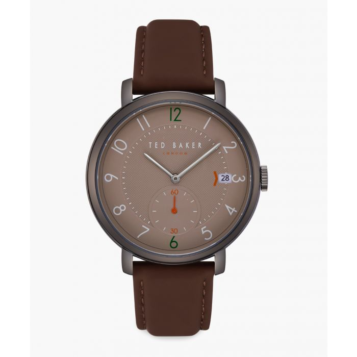 Image for Oscar brown leather and stainless steel watch