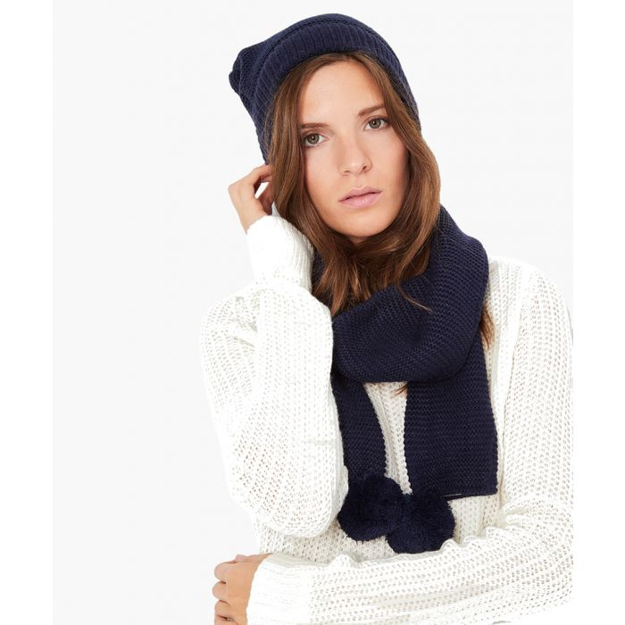 Image for 2pc navy cashmere and mohair blend scarf and cap set