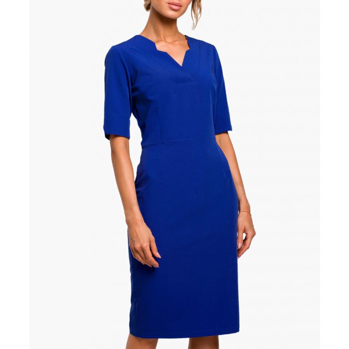 Image for Royal blue three-quarter sleeve fitted dress