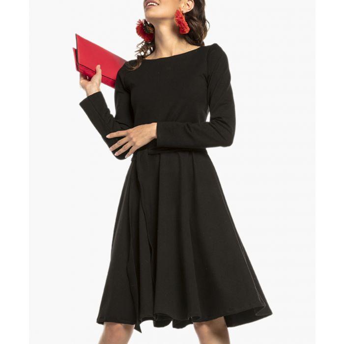 Image for Black cotton blend wrap front tie dress