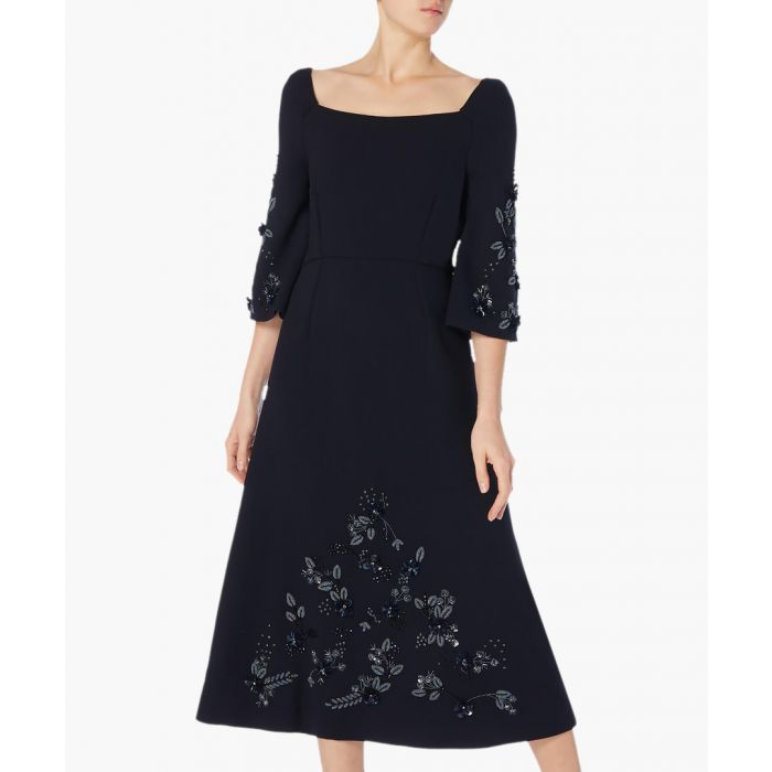 Image for Harem dark navy beaded midi dress