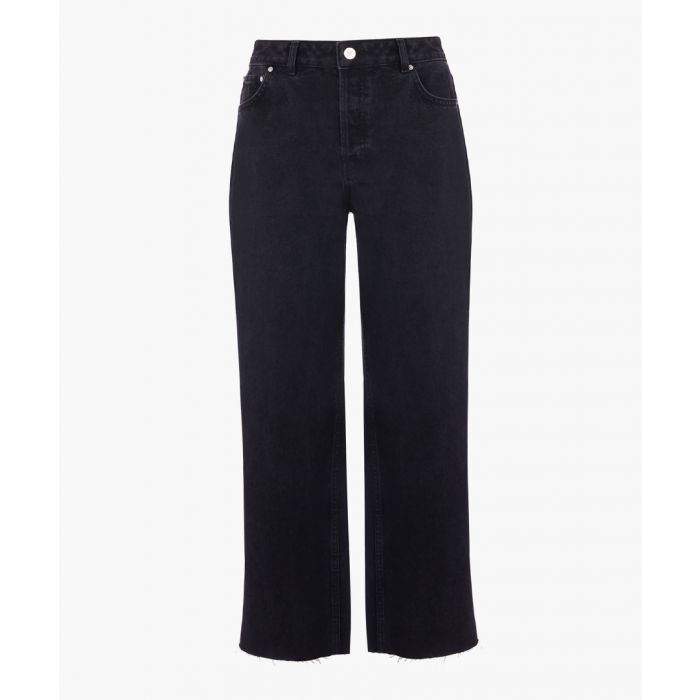 Image for Black straight mid-rise jeans