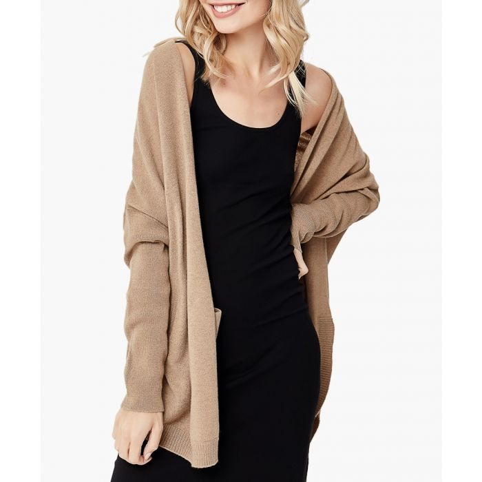 Image for Taupe melange pure cashmere cardigan