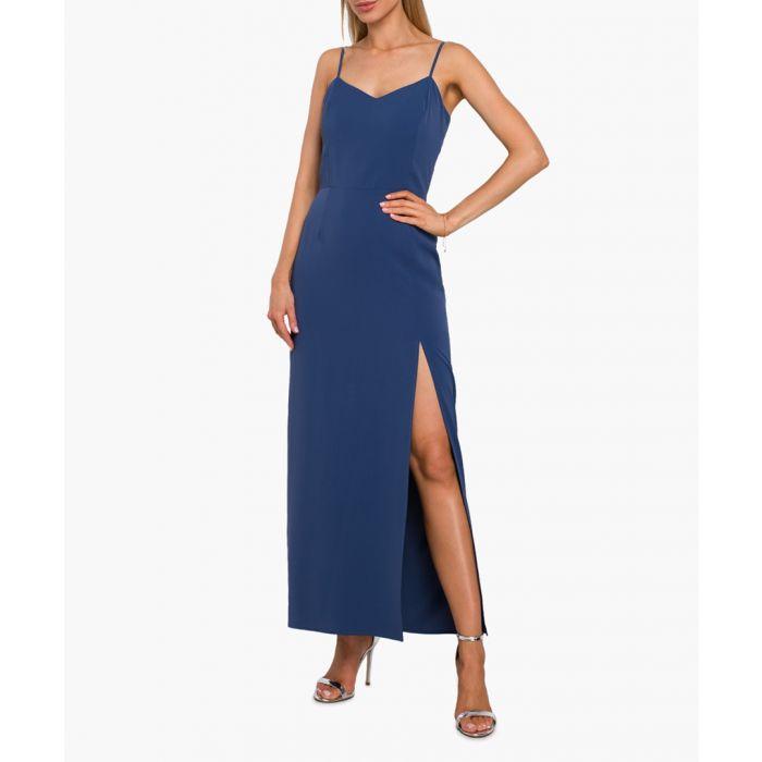 Image for Blue side slit maxi dress