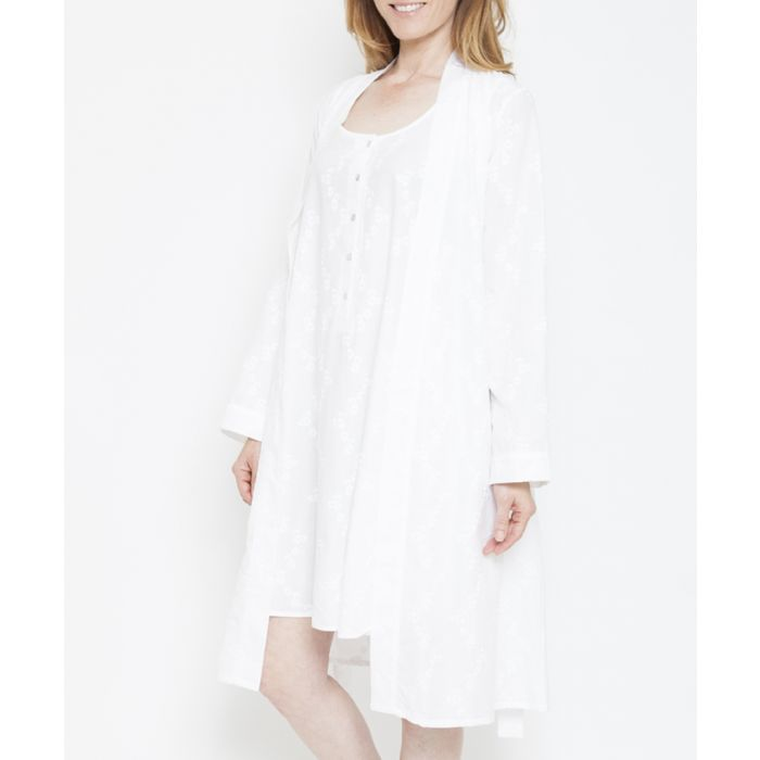 Image for Pearl white embroidered short robe