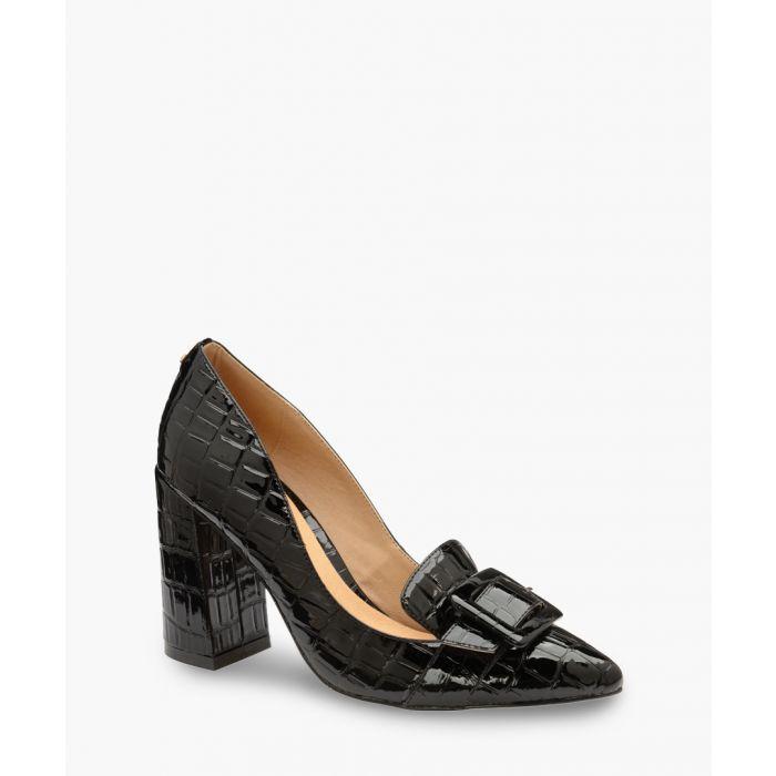 Image for Black patent moc-croc heels
