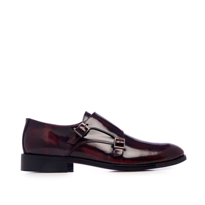 Image for Castellanisimos Monk Men Leather Shoe Burgundy