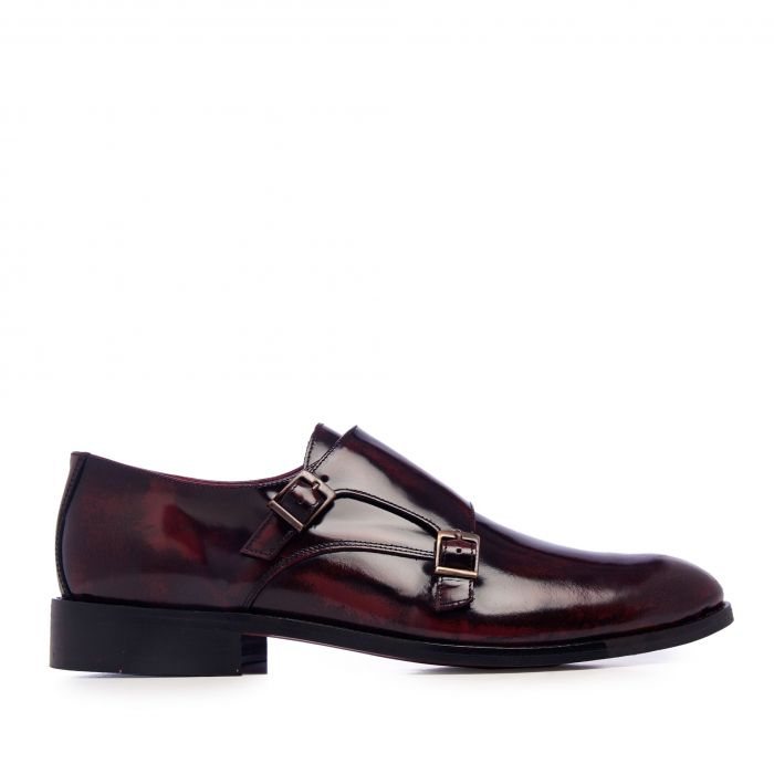 Image for Burgundy leather monk strap shoes