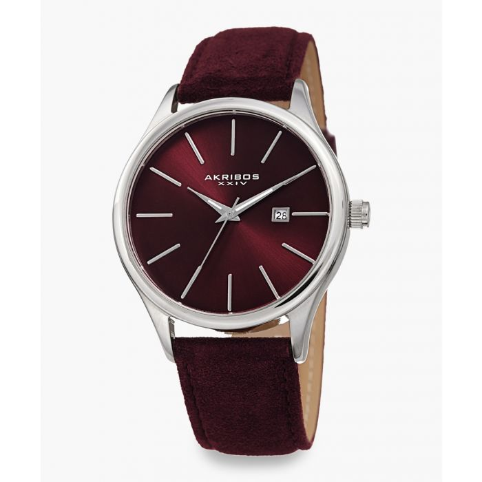 Image for Silver-tone and red leather watch