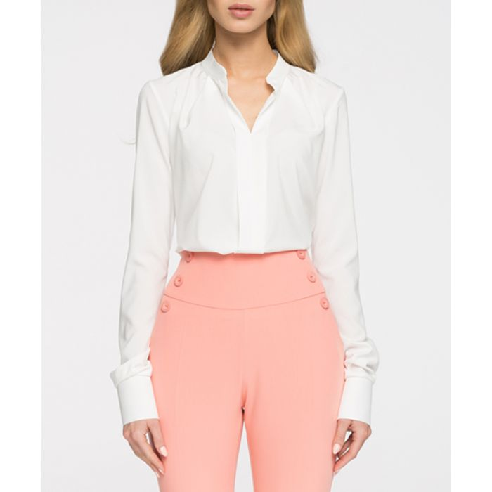 Image for White bar collar blouse