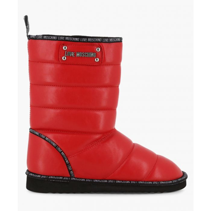 Image for Red faux-leather logo quilted boots