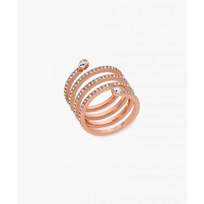 Image for Rose gold-plated stainless steel and cubic zircona ring