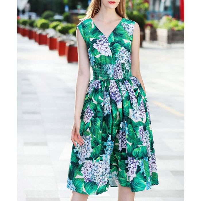 Image for Green cotton blend flower dress
