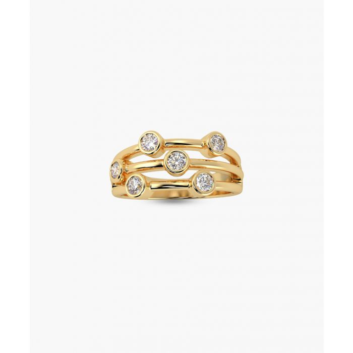 Image for 18k yellow gold and diamond bubble ring