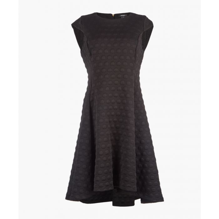 Image for Black cap sleeve fit and flare dress