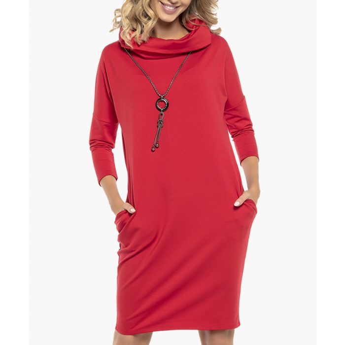 Image for Red cotton blend dress