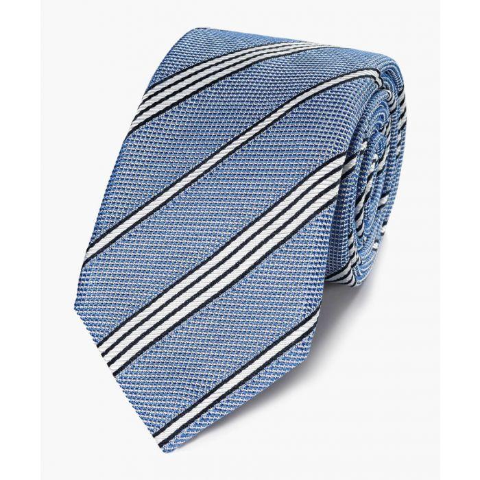 Image for Blue silk plain grenadine Italian luxury tie