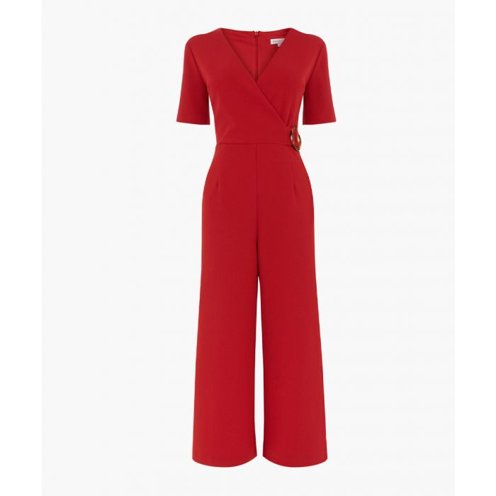 Image for Bright red wrap front jumpsuit