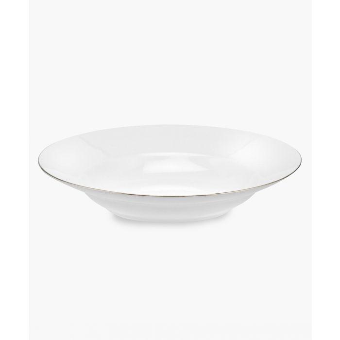 Image for 4pc Serendipity platinum band bone china soup plates